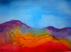 Woman in Red Hills