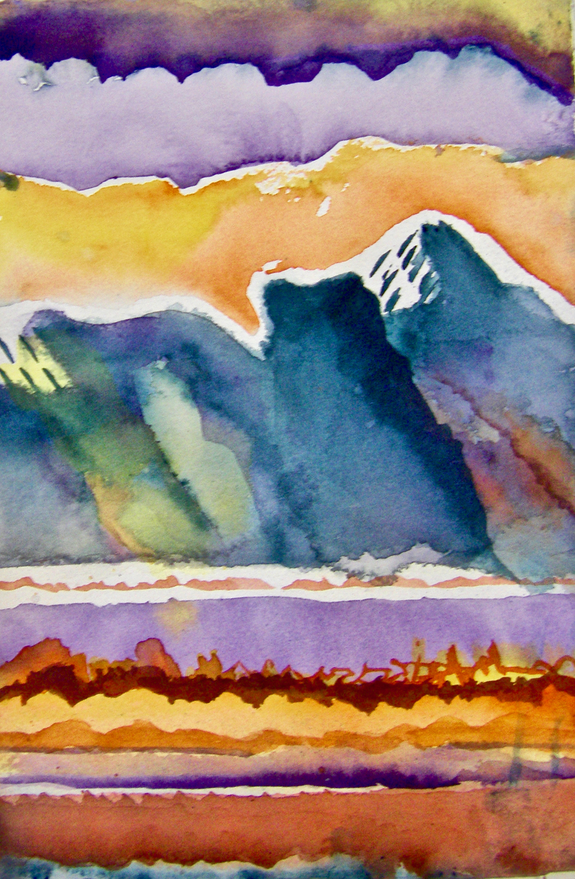 Mountain Rain - Watercolor