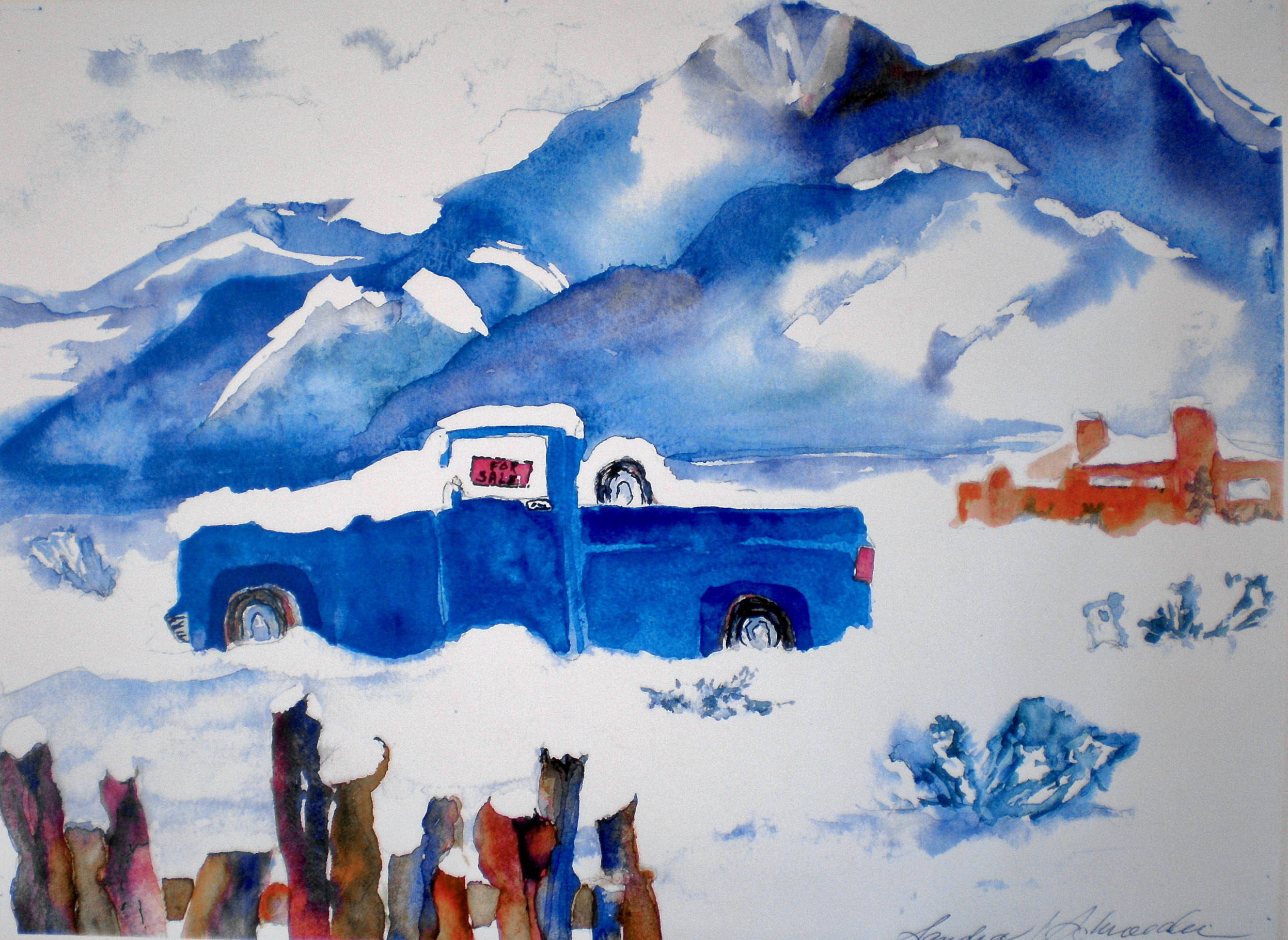 Taos Winter Storm Watercolor